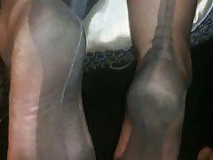 Amateur, Cumshot, Foot Fetish, Stockings